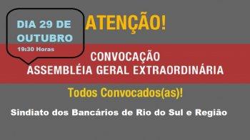 CONVOCAÇÃO PARA ASSEMBLEIA DIA 29/10  NO SINDICATO EM RIO DO SUL