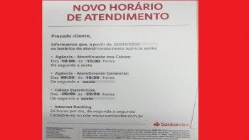 SANTANDER MODIFICA O HORÁRIO DA ÁREA COMERCIAL